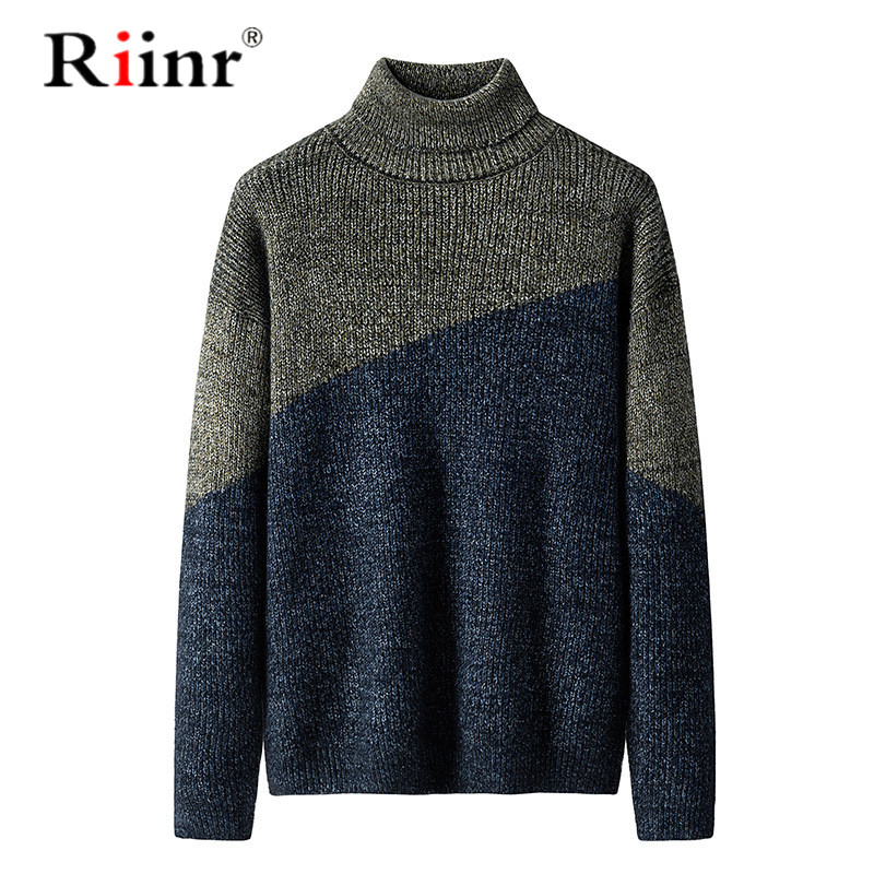 Riinr 2019 Winter New Arrivals Thick Warm Sweaters High-Neck Sweater Men Striped Slim Fit Knittwear Mens Sweaters Pullovers