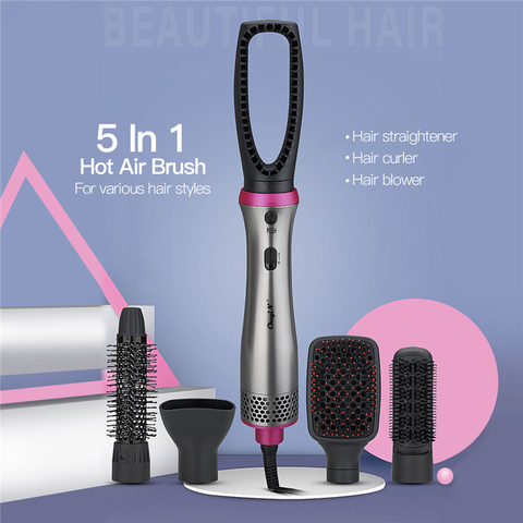 5 em 1 profissional conjunto de escova de ar alisador cabelo curler secador escova multifuncional