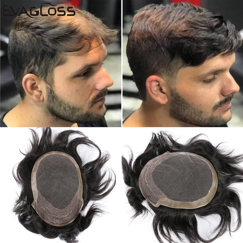 EVAGLOSS Octagon Swiss Lace Top 100% Natural Human Hair Wig Toupee For Men Hair Replacement