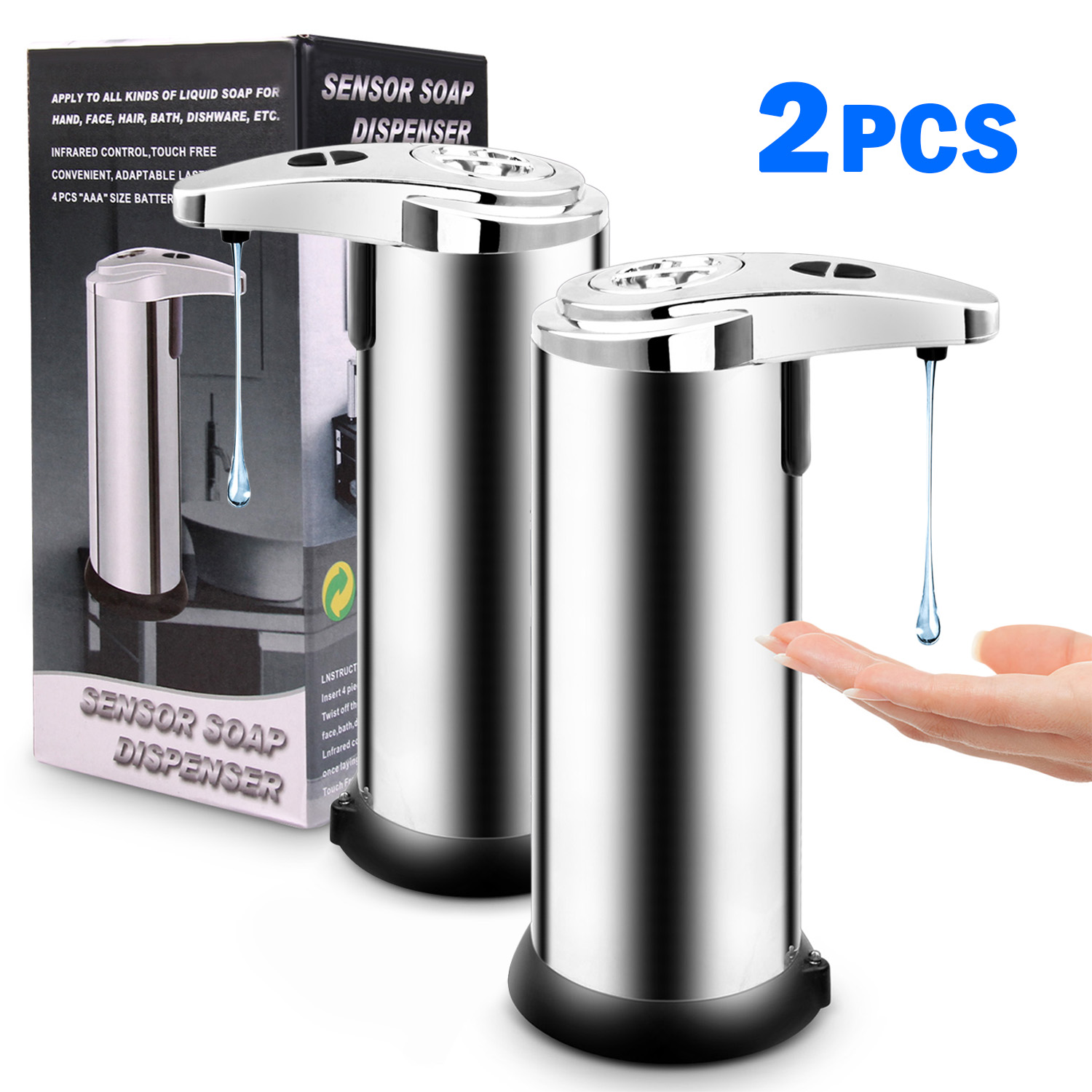 2pcs Soap Dispenser Infrared Motion Sensor Touchless Hands-Free Automatic Liquid Soap Washer Bottle for Bathroom Office School image