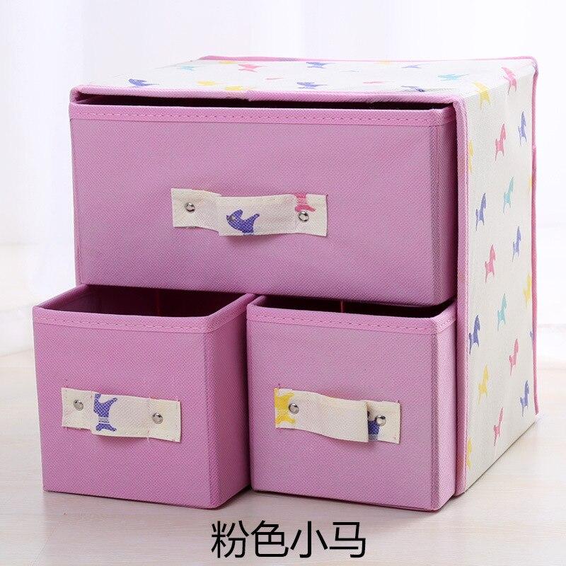 Thick Two-Layer Three Pumping Storage Box Socks Underwear Storage Box Folding Non-woven Fabrics Storage Box
