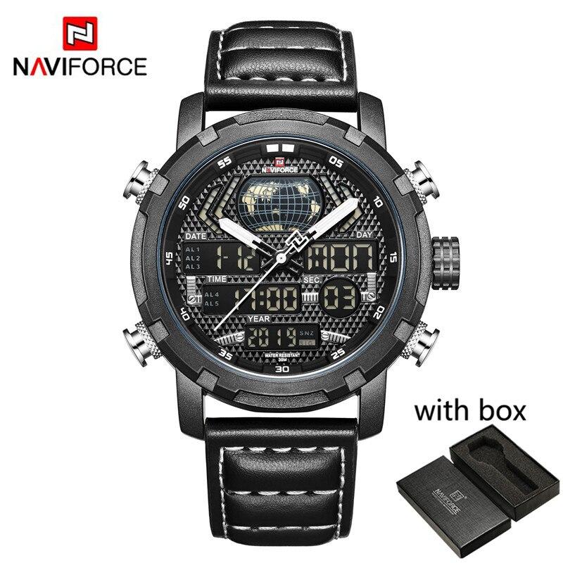 NAVIFORCE Watch Men Top Brand Luxury Digital Analog Sport Wristwatch Military Genuine Leather Male Clock Relogio Masculino 9160