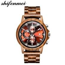 Wood Watch Men Luxury Military Sport Stopwatch Quartz Wooden
