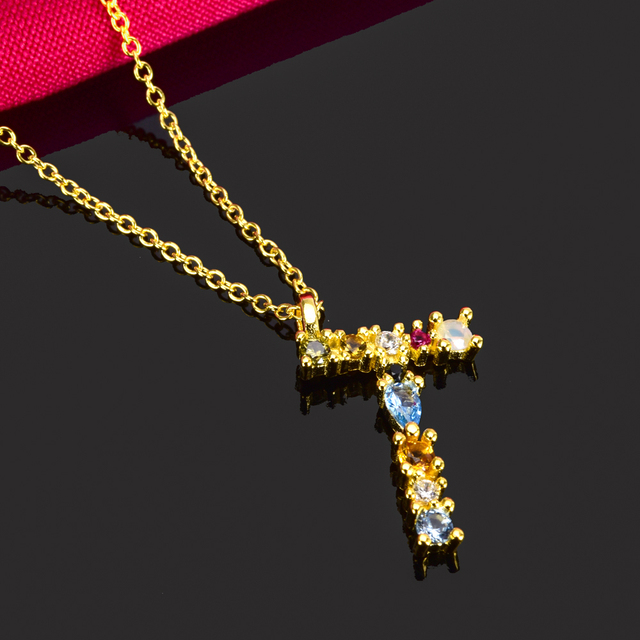 ANDYWEN 925 Sterling Silver Gold Leter M Pendant Initial F Alphabet Necklace Opals Fashion 2019 Women Accessories Jewelry