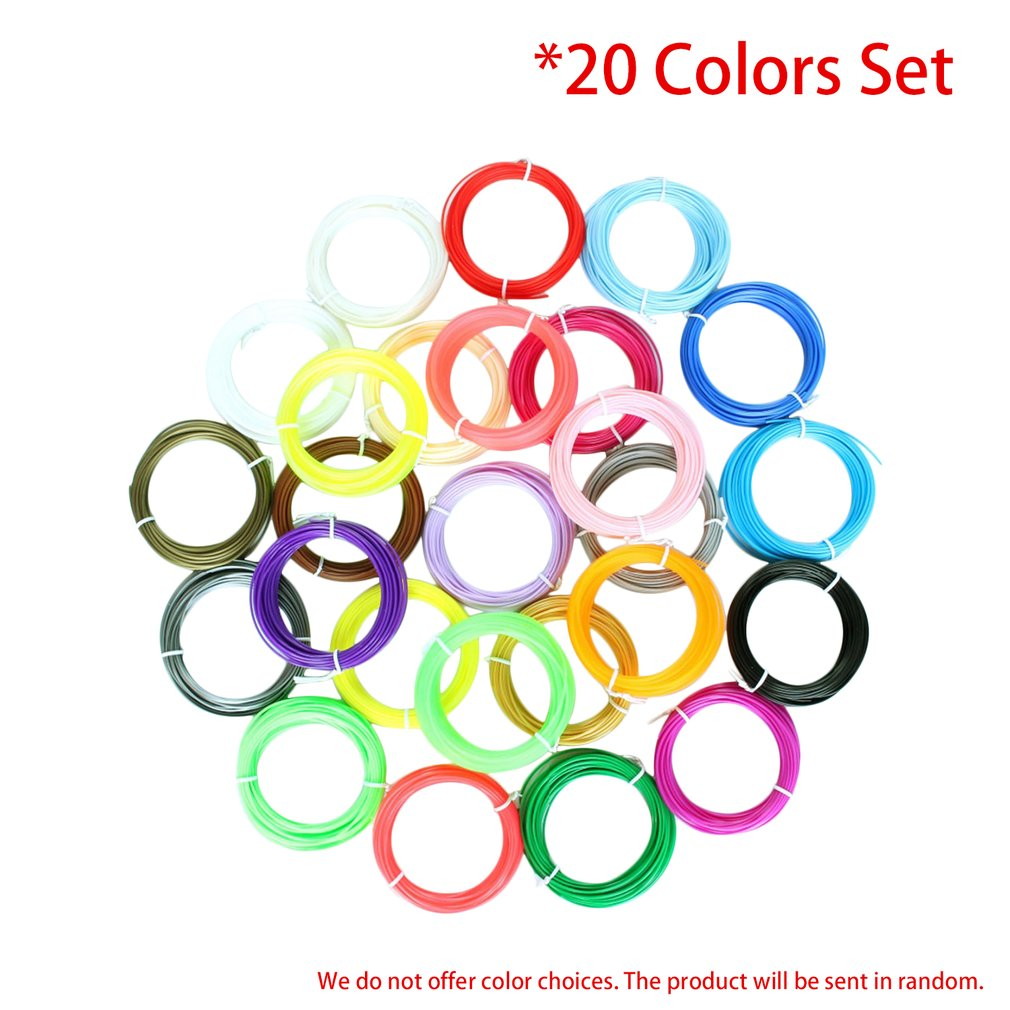 20 Colors 3D Printing Pen Filament Set 1.75mm ABS Filament High-Precision Diameter for 3D Printer Supplies Materials