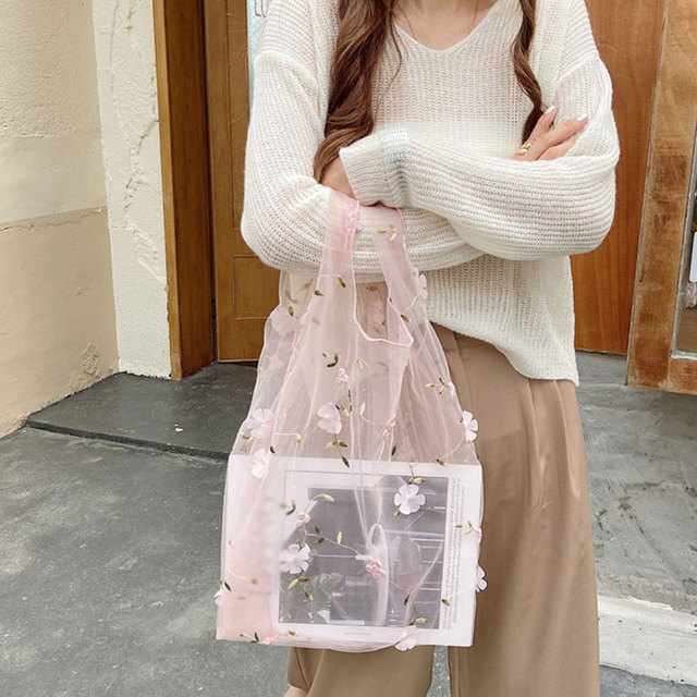 Female Flower Embroidery Hand Bag Organza Casual Tote Mesh Shopping Bags Woman Handbags Shopping Bag Sweet