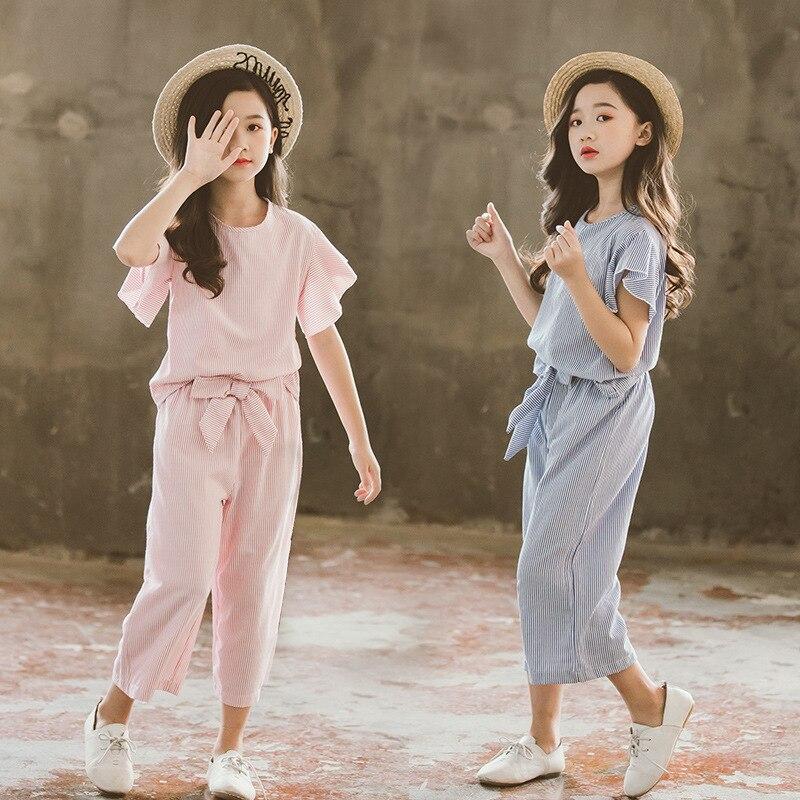 韓国夏服セット 2020 new キッズボーダー柄フリル袖 + ワイド脚パンツファッションツーピース十代の服セット
