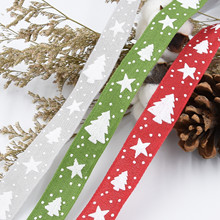 25mm Tree Christmas Ribbons for Wedding X-mas Party Holiday Decorations DIY Handmade Bow Craft  Card Gifts Wrapping Supplies
