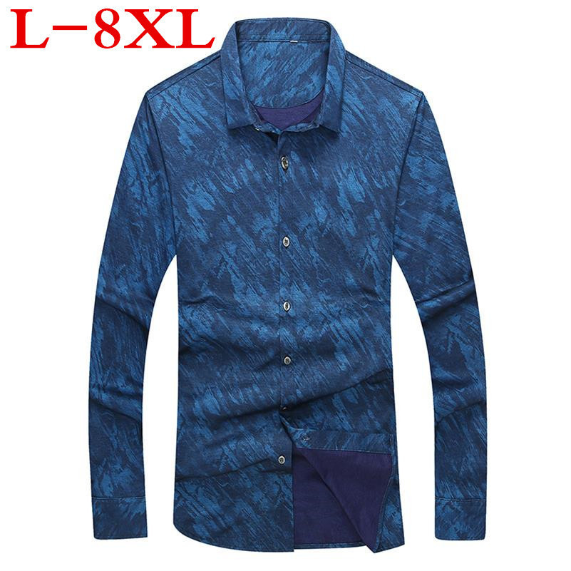 New Big Size Retro Floral Printed Man Casual Shirts Fashion Classic Men Dress Shirt Breathable Men's Long Sleeve Brand Clothing