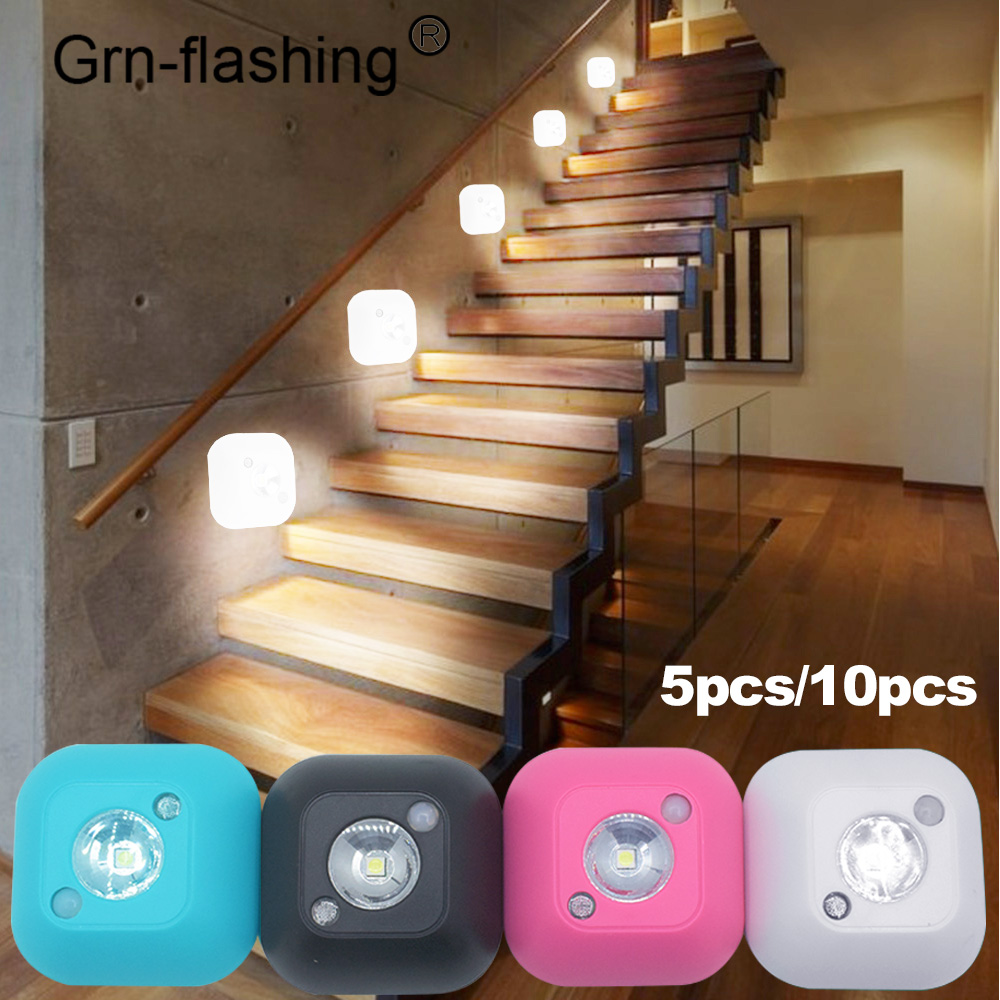 5/10 PCS Smart Wireless LED Sensor Night Light PIR Magnetic Infrared Motion Battery Powered Wall Lamp Cabinet Stairs Lighting