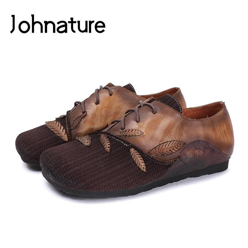 Johnature femmes chaussures en cuir véritable chaussures plates couleurs mélangées à lacets bout rond 2019 nouveau automne décontracté rétro sans lacet chaussures pour les femmes
