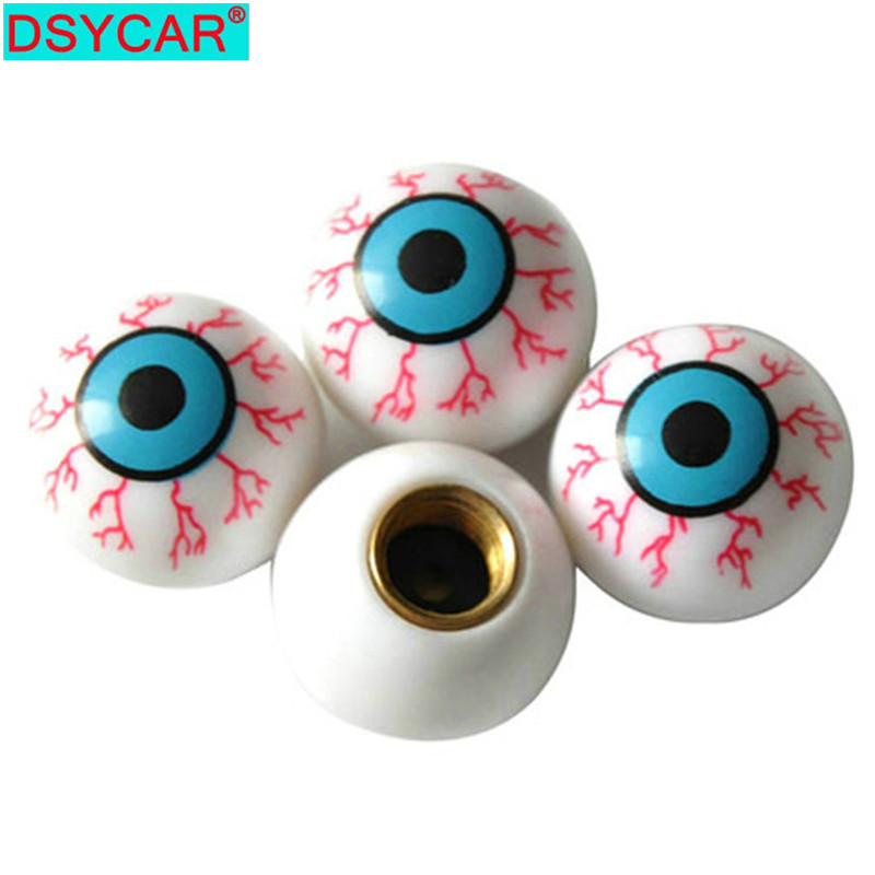 DSYCAR 4pcs/lot Eye Ball Car Bike Moto Tires Wheel Valve Cap Cover Car Styling For Fiat Audi Ford Bmw VW Jeep Honda Car Skoda