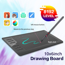 Digital Graphic Tablet for Drawing Gaming 10x6 Inch 8192 Level Sensing with Stylus Pen for Otg Smartphone Laptop Pc Accessories