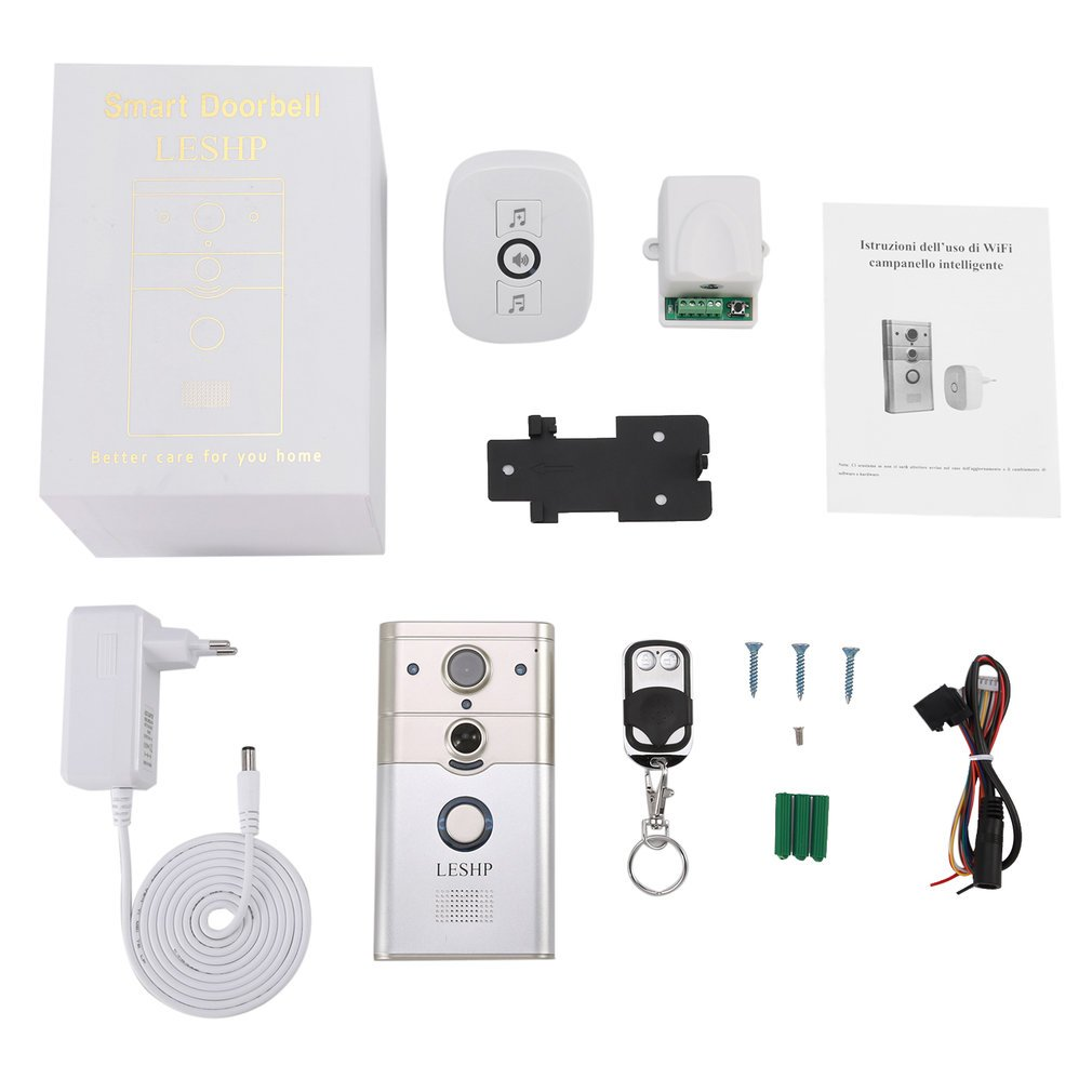 Household Wireless Remote Control Electronic Visible HD 720P Video Picture 1/4 COMS 1 Mega-Pixels 12V/1A Wi-Fi Smart Doorbell