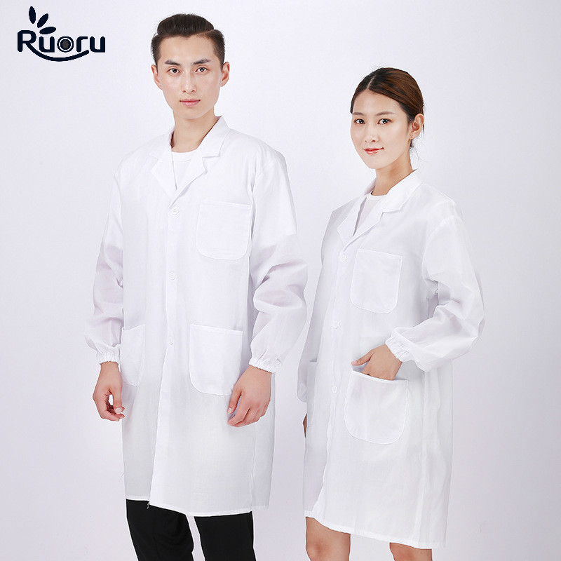Ruoru Unisex Lab Coat Hospital Medical Uniforms Clothing Pharmacy Clothes Pharmacist Doctor Uniform Dentistry Clothing