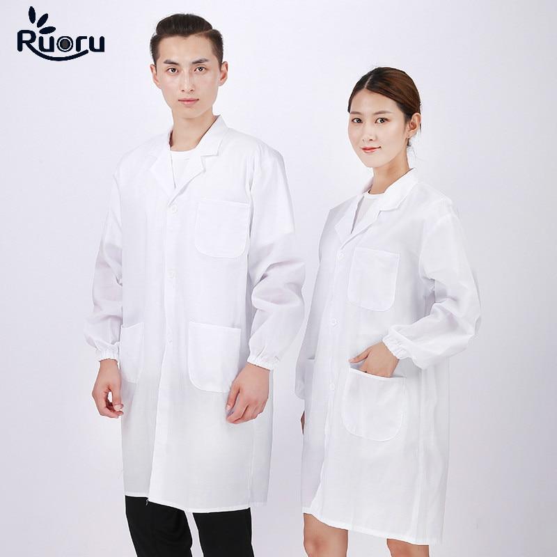 Ruoru Unisex Lab Coat Hospital Medical Uniforms Clothing Pharmacy Clothes Pharmacist Doctor Uniform Dentistry Clothing