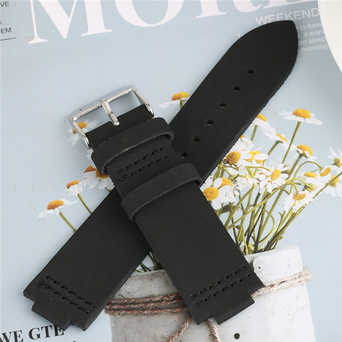 <font><b>12mm</b></font> Lug Black/Blue 22mm Width Genuine Leather Watch Strap Replacement 2 Pairs Spring Bar Pin <font><b>Buckle</b></font> Watchbands for Wood Watch image