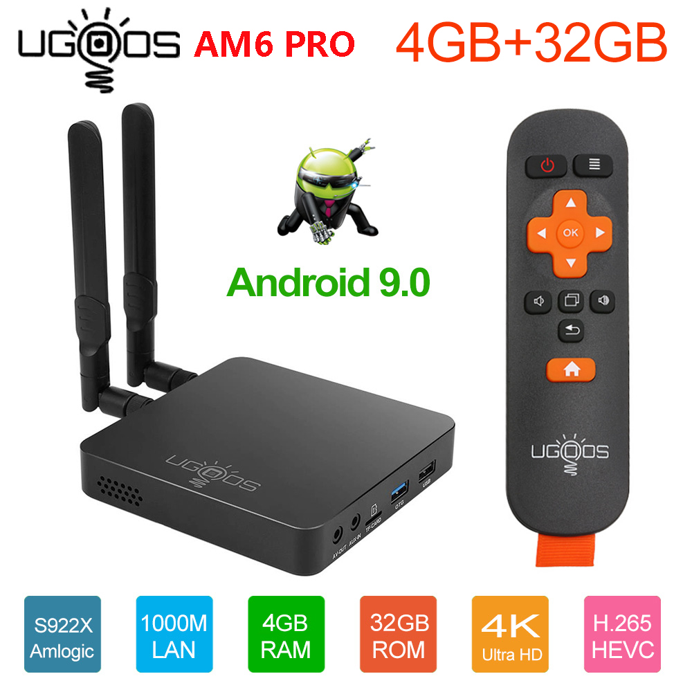 UGOOS AM6 Pro 4GB DDR4 32GB ROM Amlogic S922X TV BOX Android 9.0 Smart TV BOX AM6 2GB RAM 16GB WiFi 1000M Bluetooth Media Player