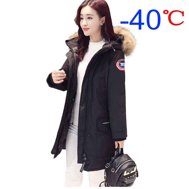 Tousmi -40 Celsius Winter Goose Down Coat Parkas Women Jacket Fur Collar Thick Long Hooded Windbreaker Coats Warm Slim Outwear
