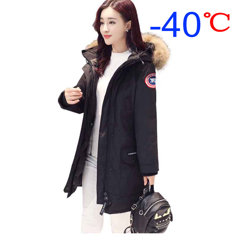 Tousmi -40 Celsius Winter Goose   Down     Coat   Parkas Women Jacket Fur Collar Thick Long Hooded Windbreaker   Coats   Warm Slim Outwear