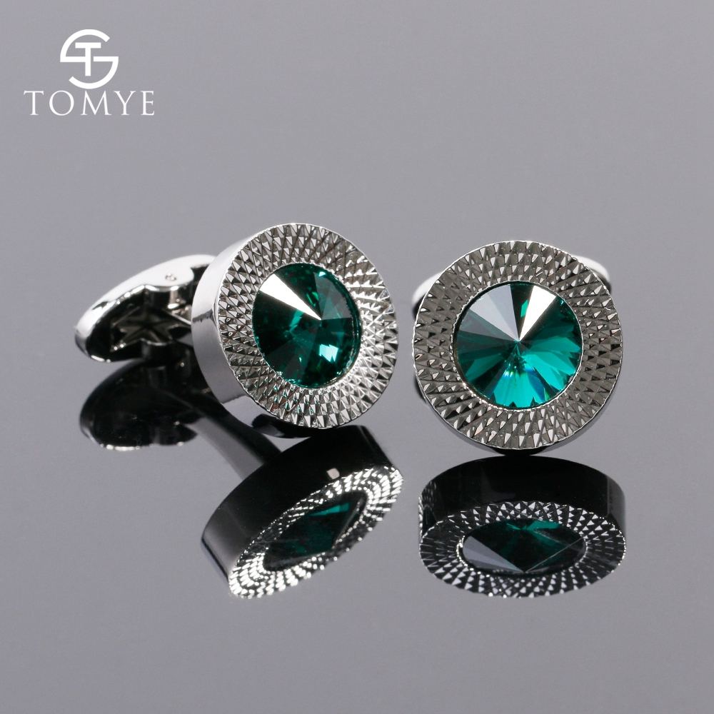 TOMYE Men's Cufflinks Luxury High Quality Green Crystal Silver Colour Copper Wholesale Shirt Cuff Links Round Jewelry XK19S010