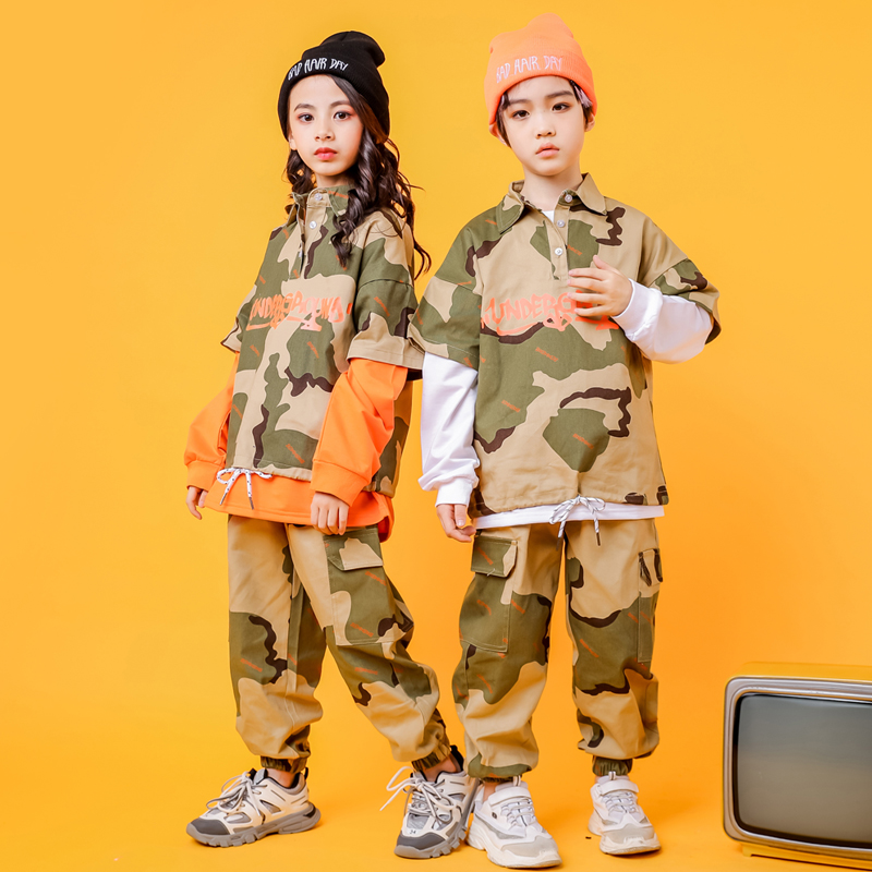 Kids Cool Camouflage Sweatshirt Tops Casual Dancing Hip Hop Pants Clothing For Girl Boy Jazz Dance Costumes Clothes Wear Outfits