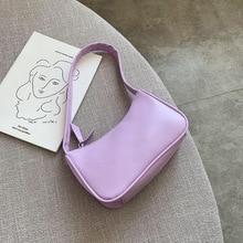 Мягкий PU Кожа Женщины Фиолетовый Подмышки Сумка Ретро Сплошной Цвет Дамы Багет Сумки Мода Дизайн Девочки Маленький Плечо Сумки