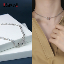 Kinel Butterfly Pendant Necklace Ladies Fashion 925 Sterling Silver Boho Statement Clavicle Chain Jewelry