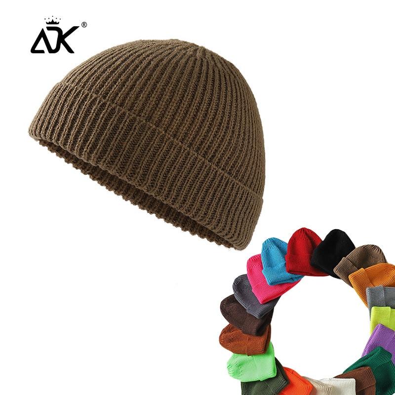 Short Hats Fashion Men Decal Casual Knitted Cap Winter Hip Hop Acrylic Sailor Cap Autumn Winter   Beanies