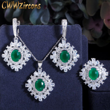 cwwzircons elegant designer green cubic zirconia long leaf drop indian 585 gold earring pendant necklace women jewelry sets t411 CWWZircons 3pcs Shiny Green Stone Zircon Flower Drop CZ Necklace Earring and Ring Elegant Women Party Costume Jewelry Sets T434