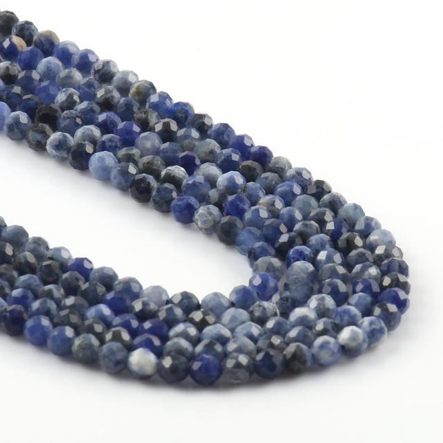 2 3 4mm Natural Shiny Blue Lapis Lazuli  Faceted Tiny Round Beads for Needlework Jewlery Making DIY Handamde Bracelet Necklace