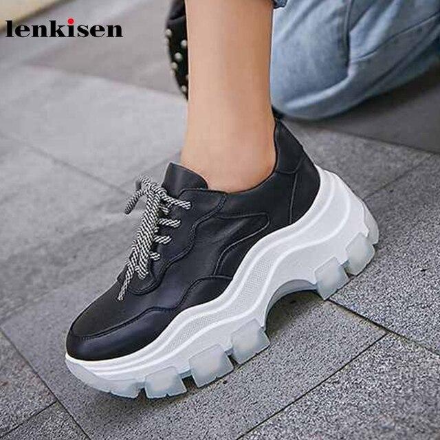 Lenkisen الأساسية الكلاسيكية الأبيض حذاء جلد طبيعي جولة اصبع القدم الكعب العالي سميكة أسفل الدانتيل يصل النساء دافئ أحذية مفلكنة L9f9