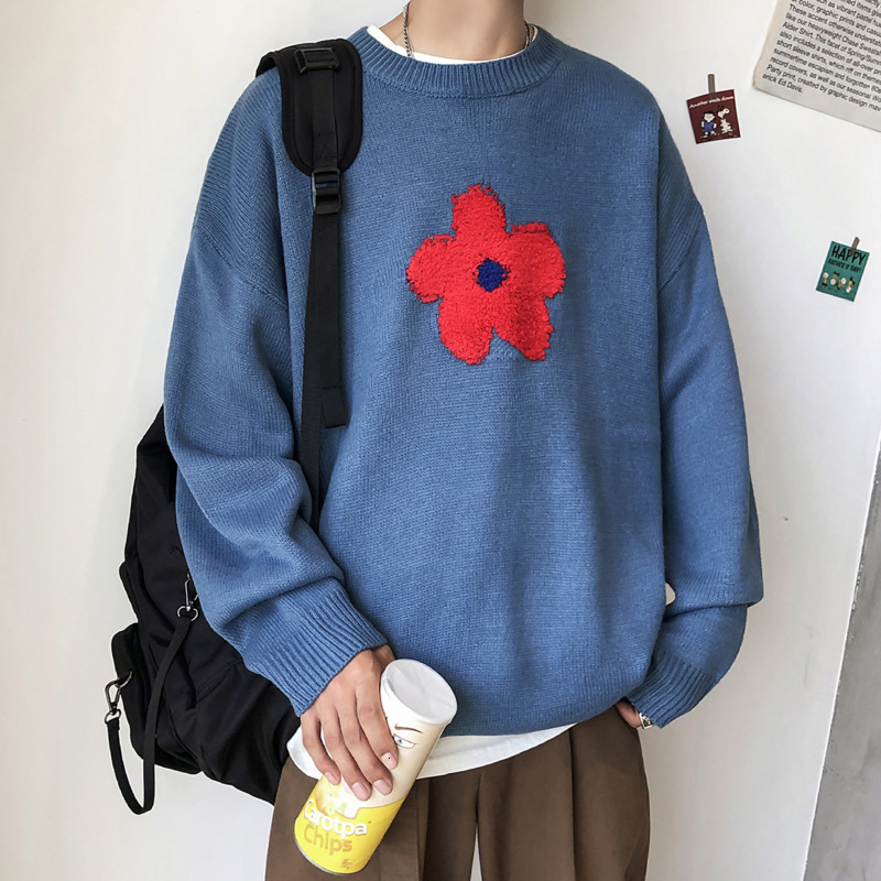Winter Sweater Men's Warm Fashion Flower Embroidery O-neck Knit Pullover Men Loose Knitting Sweaters Male Sweter Clothes M-2XL