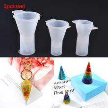 3 adet şeffaf silikon koni şeklinde enerji kulesi kalıp reçine gerçek çiçek takı DIY kalıp reçine kalıpları halka