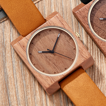 Wooden Watch Men Natural Lightweight Wood Watches Mens Quartz Creative Square Dial Leather Wristwatches Clock Relogio