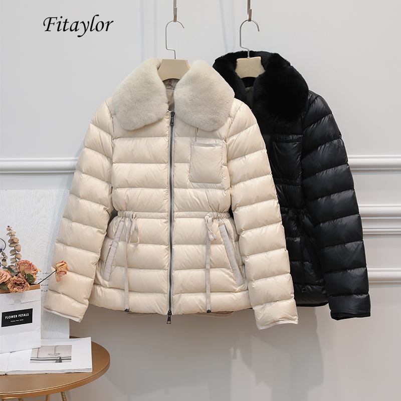Fitaylor Winter Ultra Light 90% Duck Down Jacket Women Large Natural Rabbit's Hair White Duck Down Parka Sash Tie Up Warm Coats