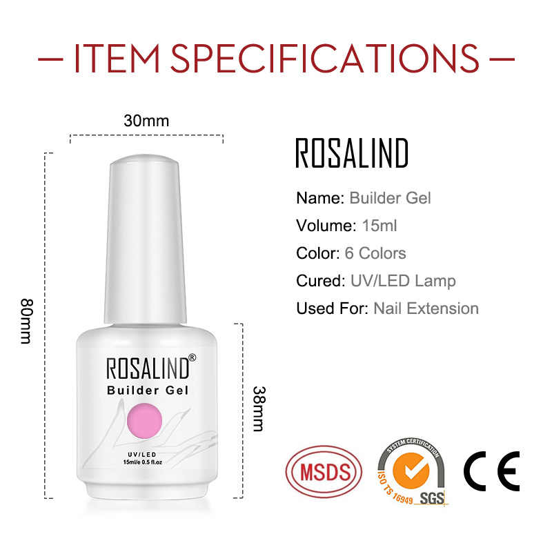 ROSALIND 15ML Builder Gel Nagellak Clear Nail Gel Vernissen Voor Nail Art Ontworpen Losweken Semi Permanente UV lamp GeL