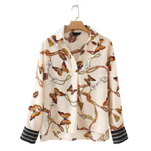 New Women Long Sleeve Pleated Shirts Chic Chains Butterfly Print Full Blouses Elegant Casual Blusas Mujer Moda