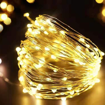 Fairy Light String Battery Powered Christmas Lights Waterproof LED String Silver Line Firefly Holiday Light Strip Decoration image