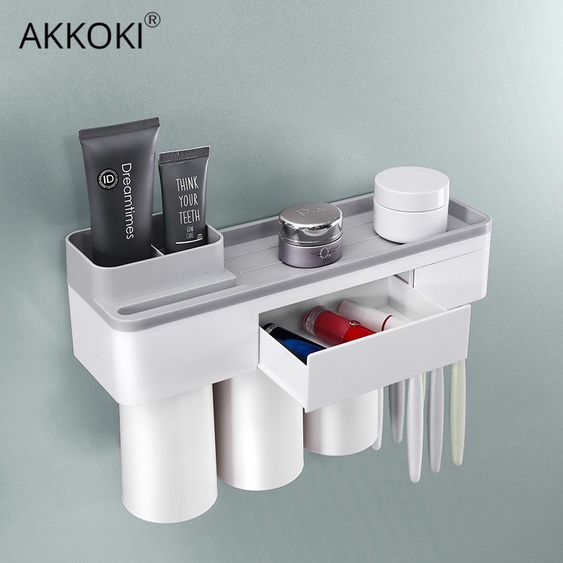 Toothbrush Holder with Cup Bathroom Accessories Toothpaste Storage Organizer Glass for Toothbrushes Shelf Magnetic Adsorption image