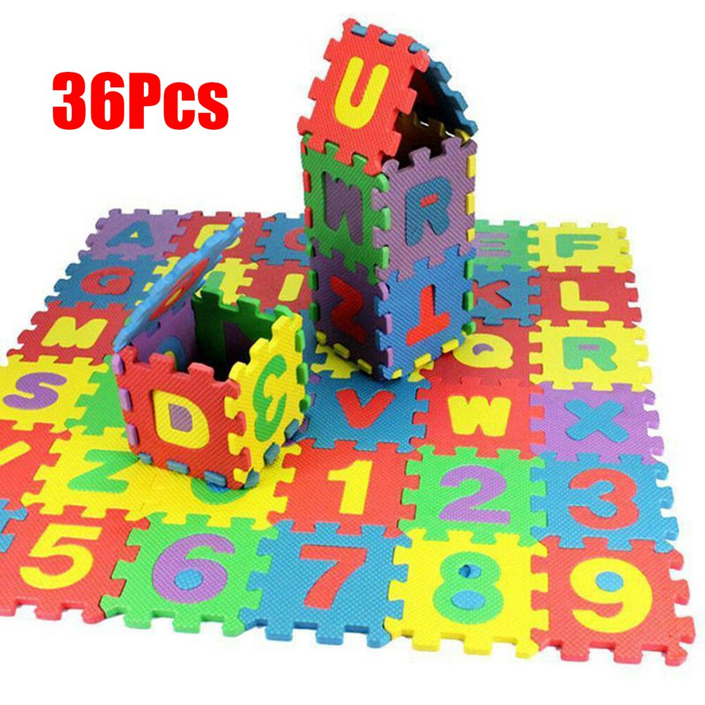 36pcs/Set Children Alphabet Letters Numerals Puzzle Colourful Kids Rug Play Mat Soft Floor Crawling Puzzle Kids Educational Toys