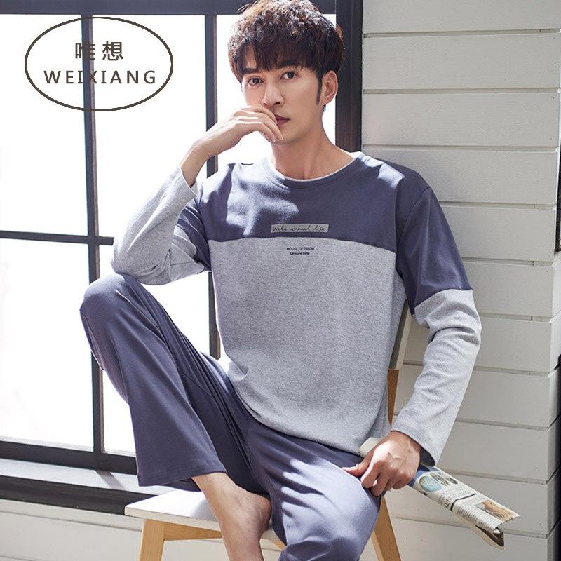 WEIXIAN Men Pajamas Long-sleeved Cotton Spring Autumn Models Men's Cotton Autumn Men's Large Size Home Service Thin Summer Suit