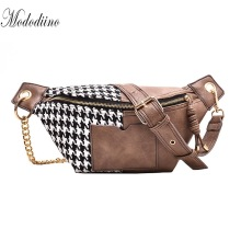 Mododiino Wool With PU Leather Waist Bag Women Fanny Pack Chains Shoulder Bag Vintage Crossbody Bag Phone Pouch Belt Bag DNV1215 elegant women s crossbody bag with metallic and chains design