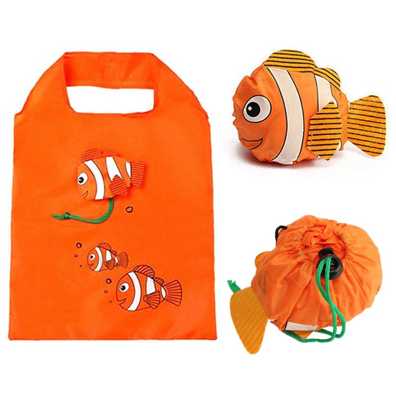 Fish Reusable Shopping Bags Foldable Eco Bag Nylon Tote Bag Large Capacity Rose Storage Handbags Recycle Pouch Storage Bags