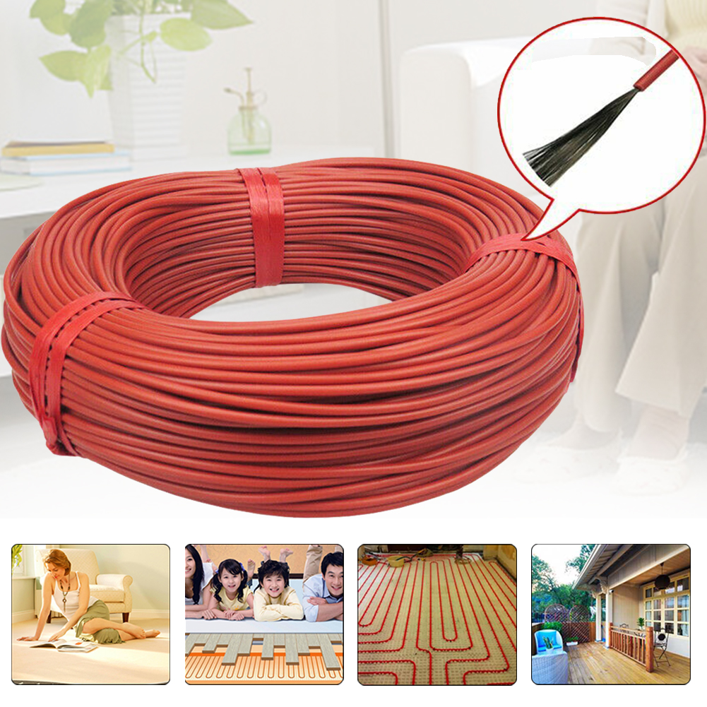 100m Carbon Fiber Home Wire Electric Blanket Durable Multipurpose Heating Cable 12K Floor Warm Insulated Infrared Red Farm
