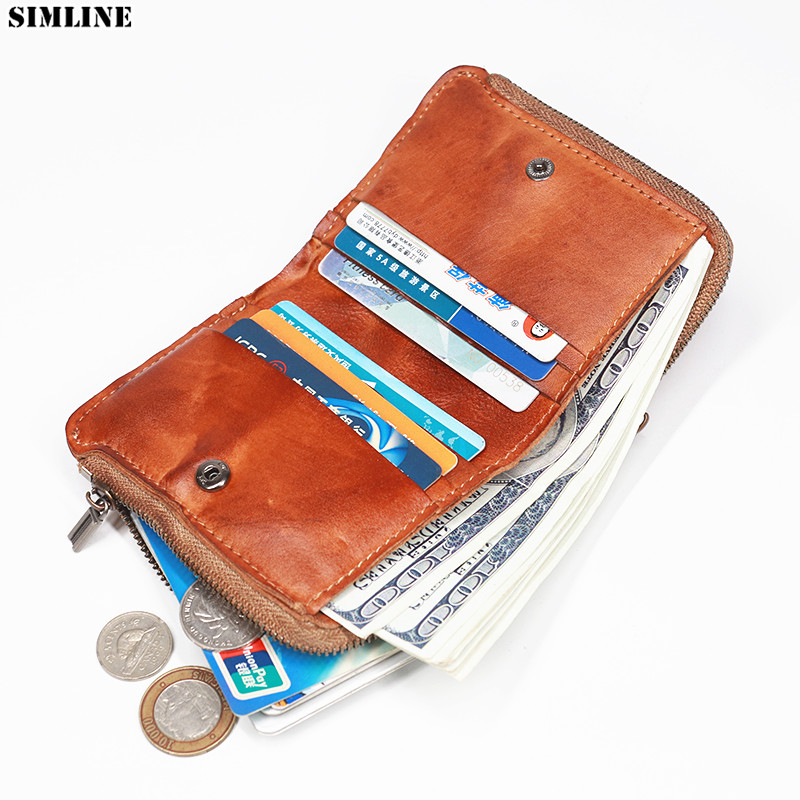 100% Genuine Leather Wallet Men Male Vintage Handmade Short Bifold Wallets Purse Card Holder With Zipper Coin Pocket Money Bag