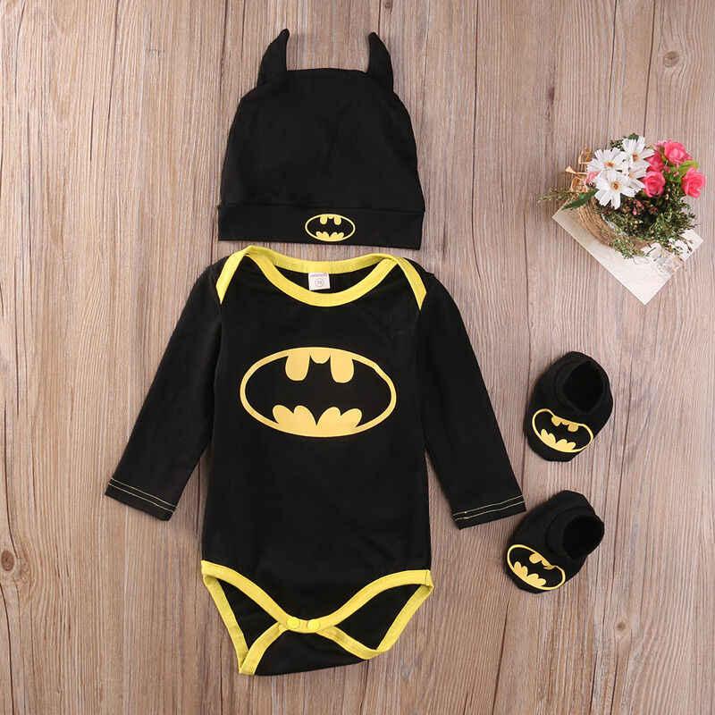 Moda recién nacido bebé niña Batman ropa 0-24M mono de flores de EE. UU. + zapatos + sombrero de Halloween conjunto de trajes bonitos 3 piezas