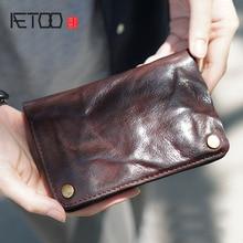 AETOO 원래 남성 돈 숙녀는 오래된 가죽 수제 가죽, 복고풍 지갑, 간단한 지갑에서 80% 를 만든다