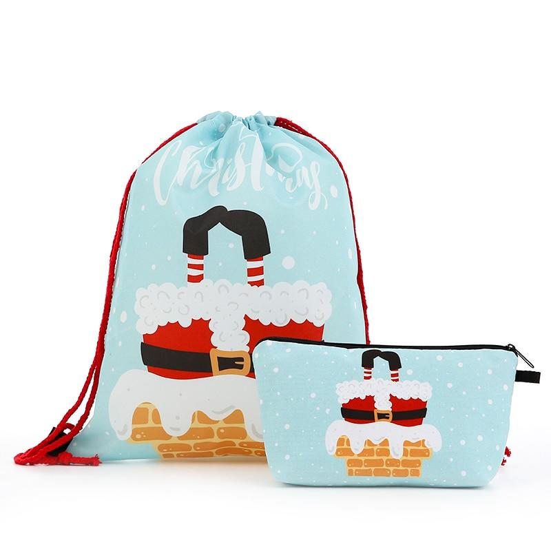 Suit Drawstring Backpack Drawstring Bags Fashion Printing Letter Men Casual Bags Women's Shoulder Bag Polyester Santa Claus Red