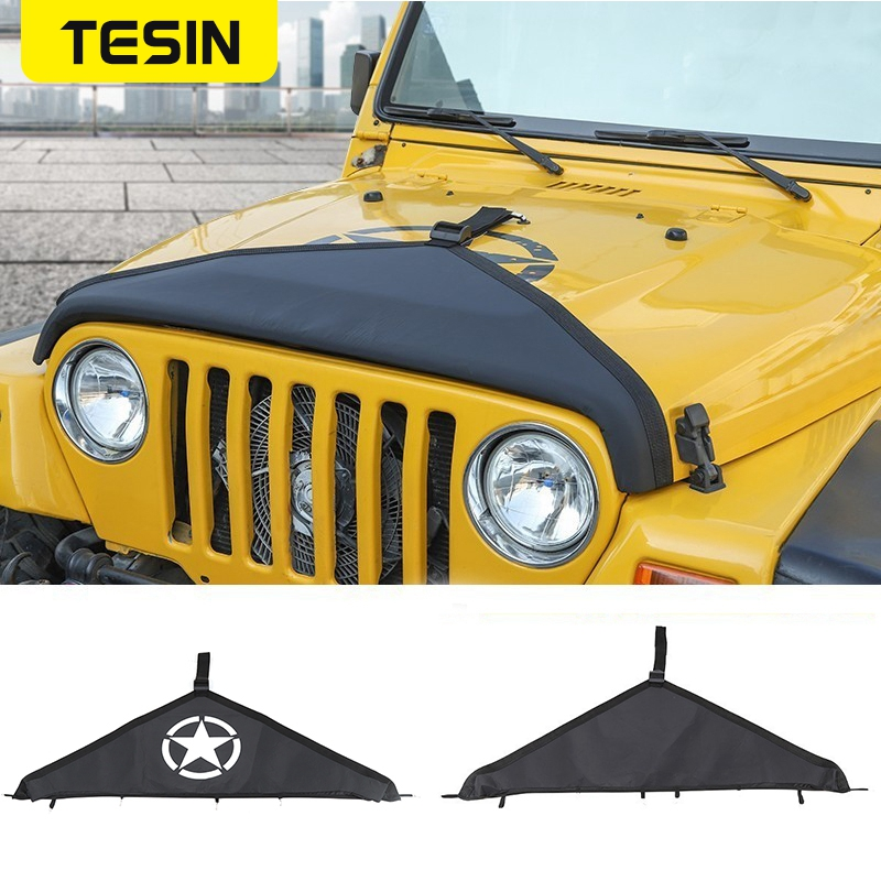 TESIN Engine Bonnets Cover for Jeep Wrangler TJ 1997-2006 Canvas Car Front Hood Bra Cover Protector for Jeep TJ Car Accessories